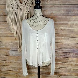 Free People | We The Free White Dolman Henley Tee